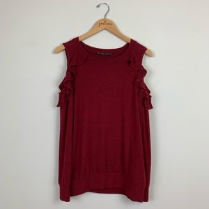 Seven 7 burgundy cold shoulder ruffle top s